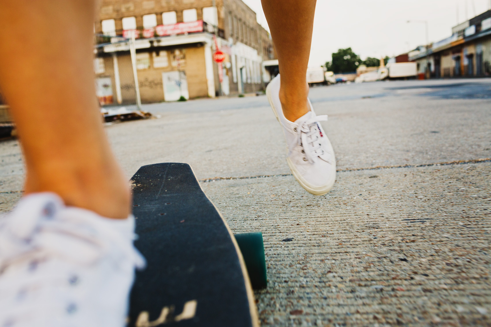 view of sneakers from skateboard for washington dc commercial photographer