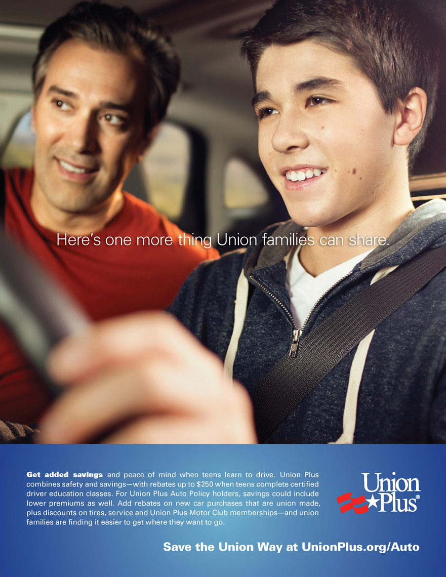 teen boy learning to drive with dad for union plus advertisement, washington dc commercial photography