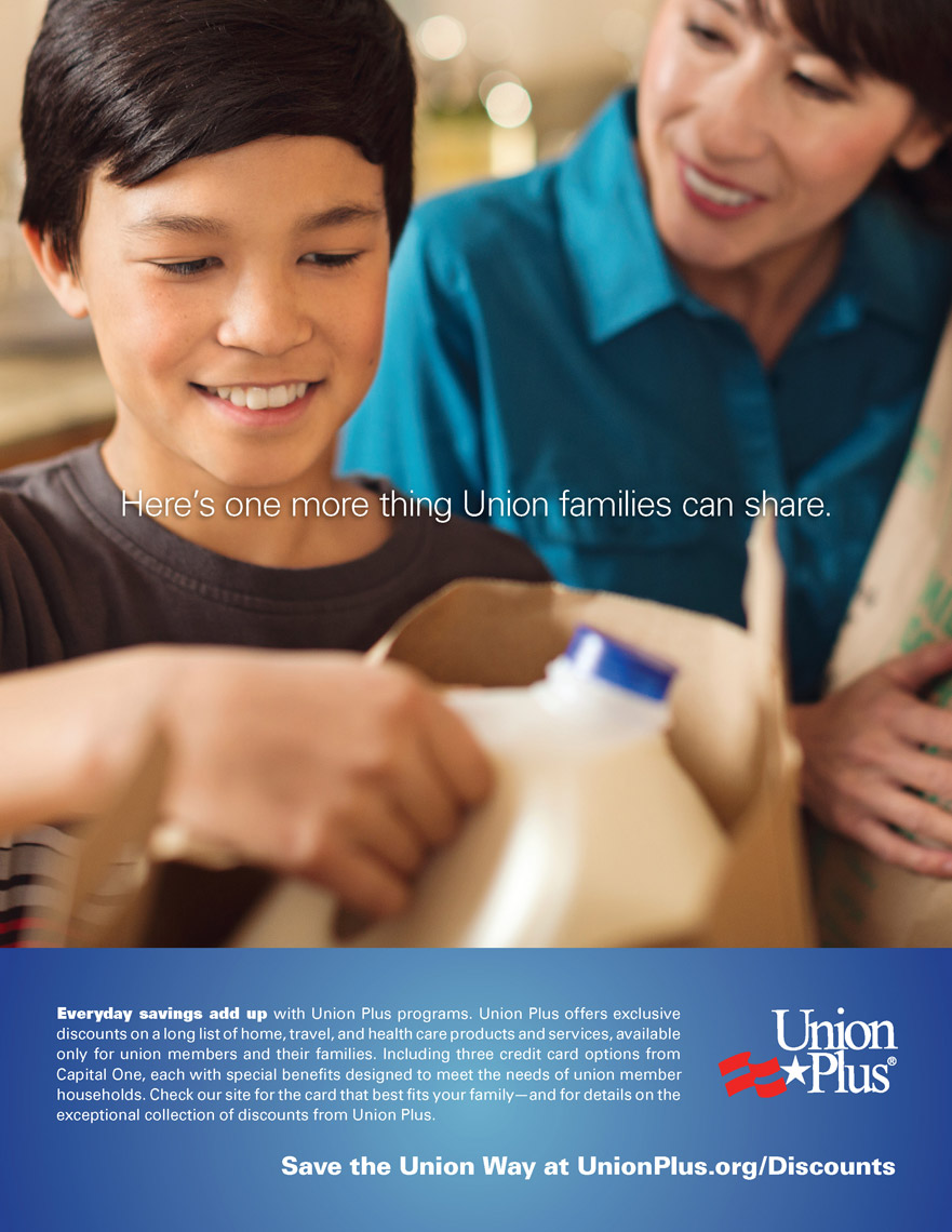 boy taking milk out of bag with mom for union plus advertisement, washington dc commercial photography