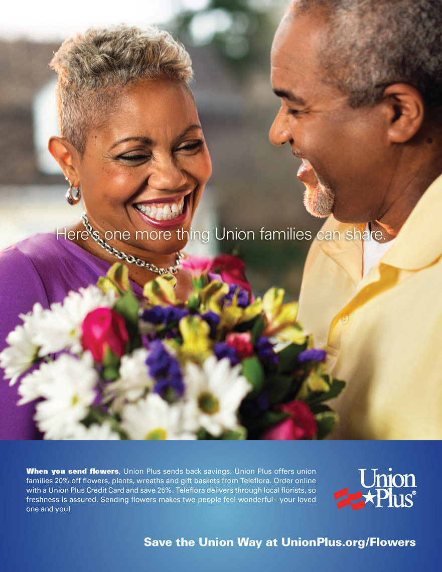 husband greeting wide with flowers for union plus advertisement, washington dc commercial photography