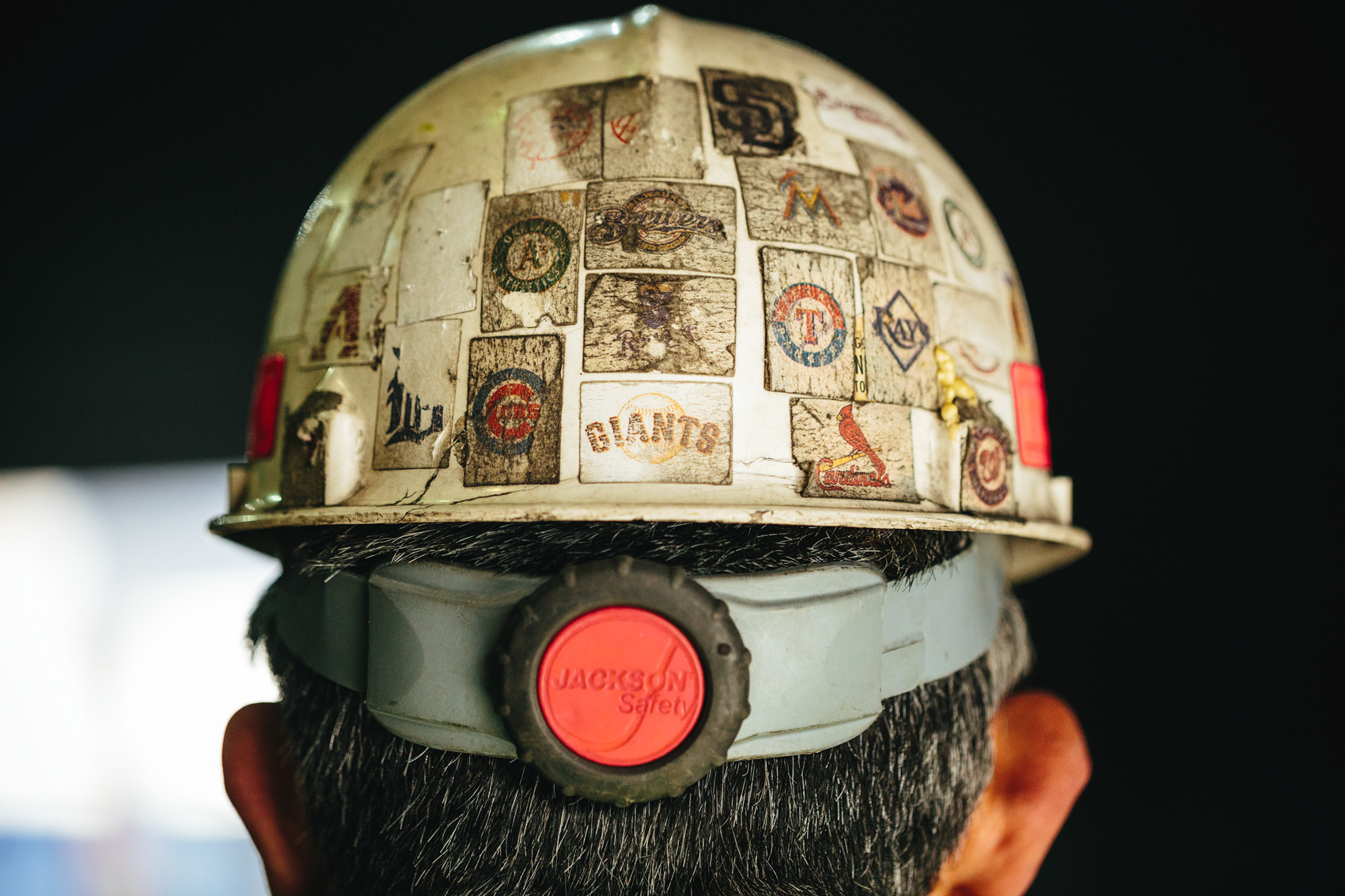 construction hat with mlb stickers for washington dc industrial photography