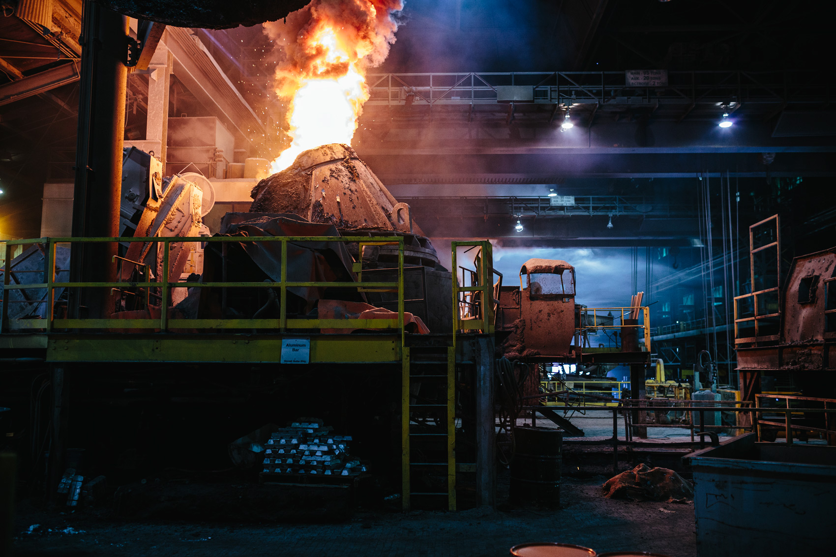 flames blast from arc furnace for washington dc commercial photography