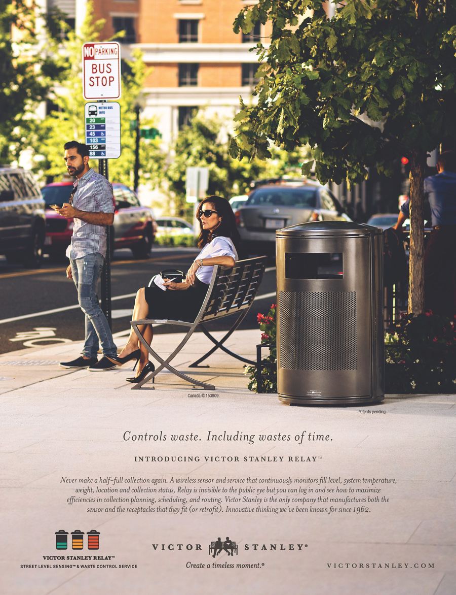 man and woman at bus stop for victor stanley advertisement, washington dc commercial photography