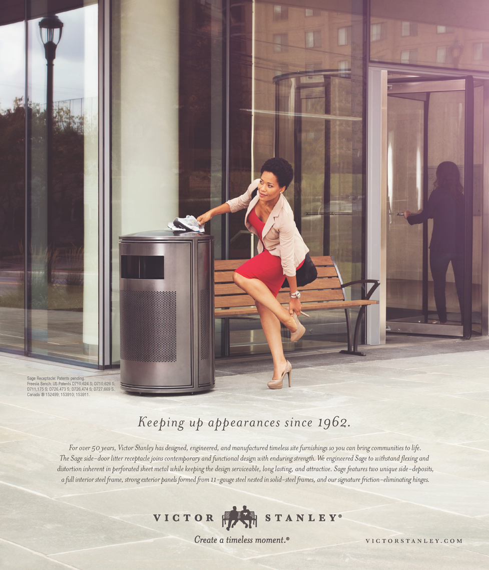 woman changing shoe near trash can for victor stanley advertisement, washington dc commercial photography