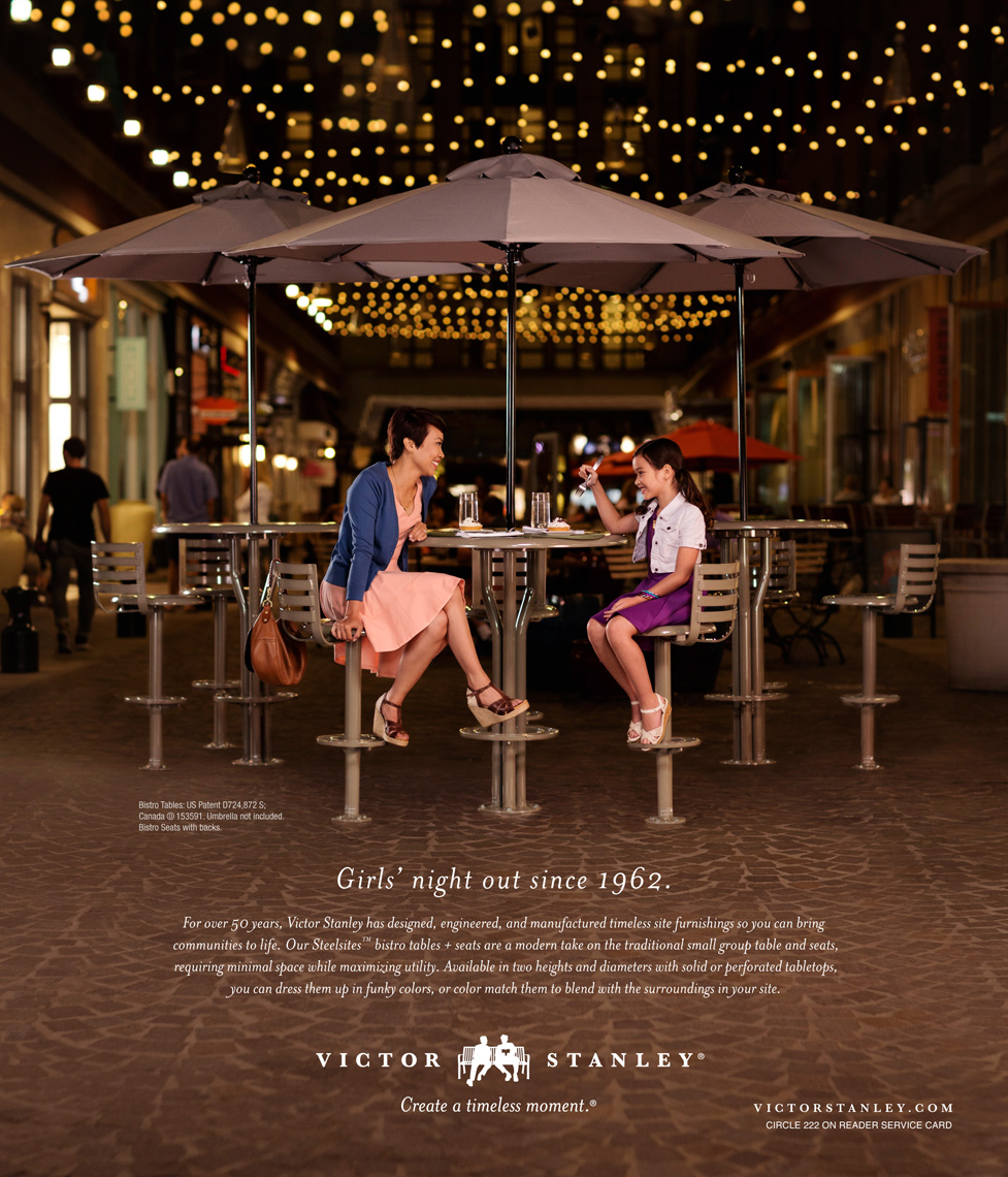 mom and daughter sharing dessert at night for victor stanley advertisement, washington dc commercial photography