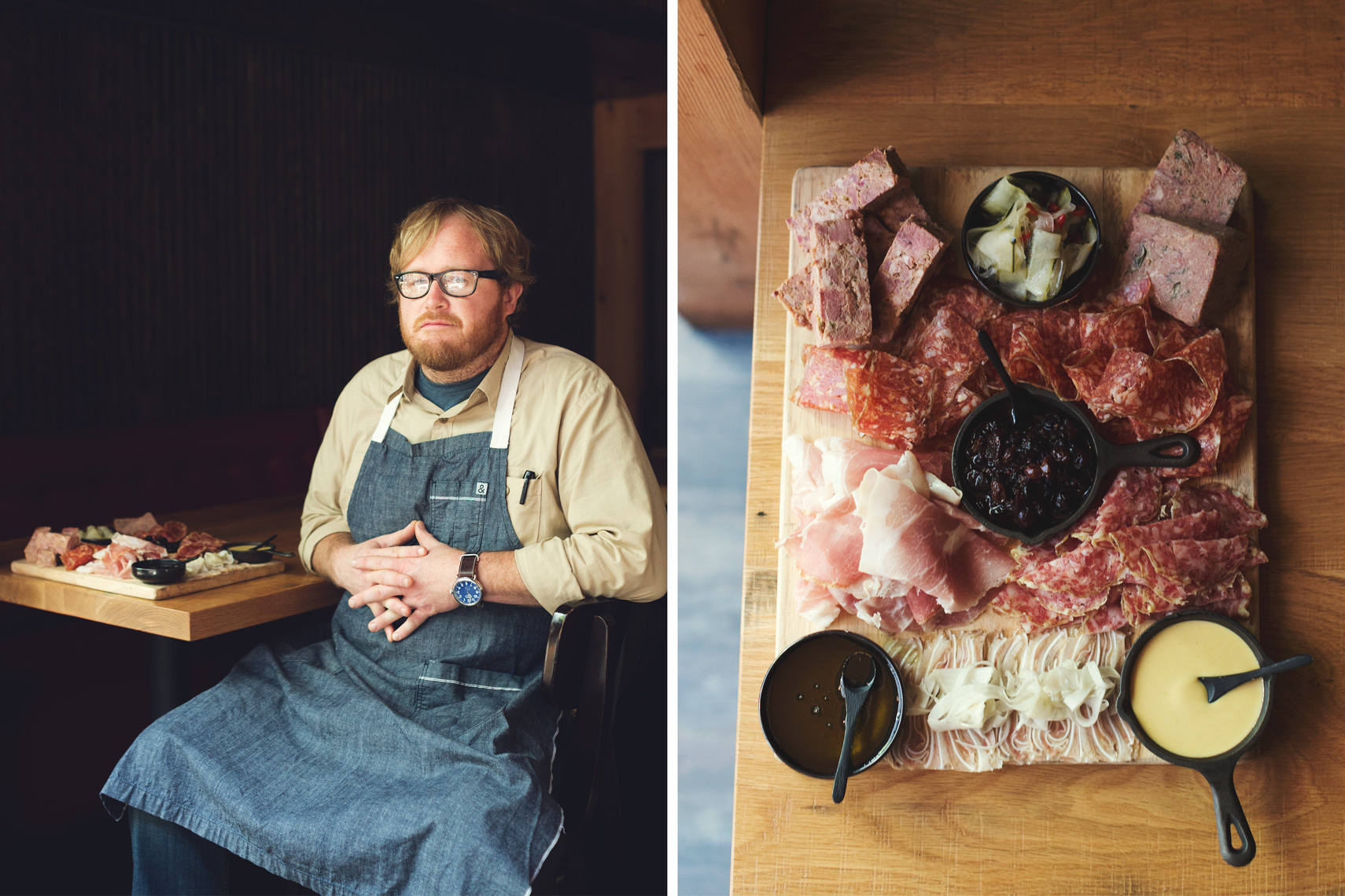 chef nathan anda sitting with charcuterie board for washington dc editorial photography