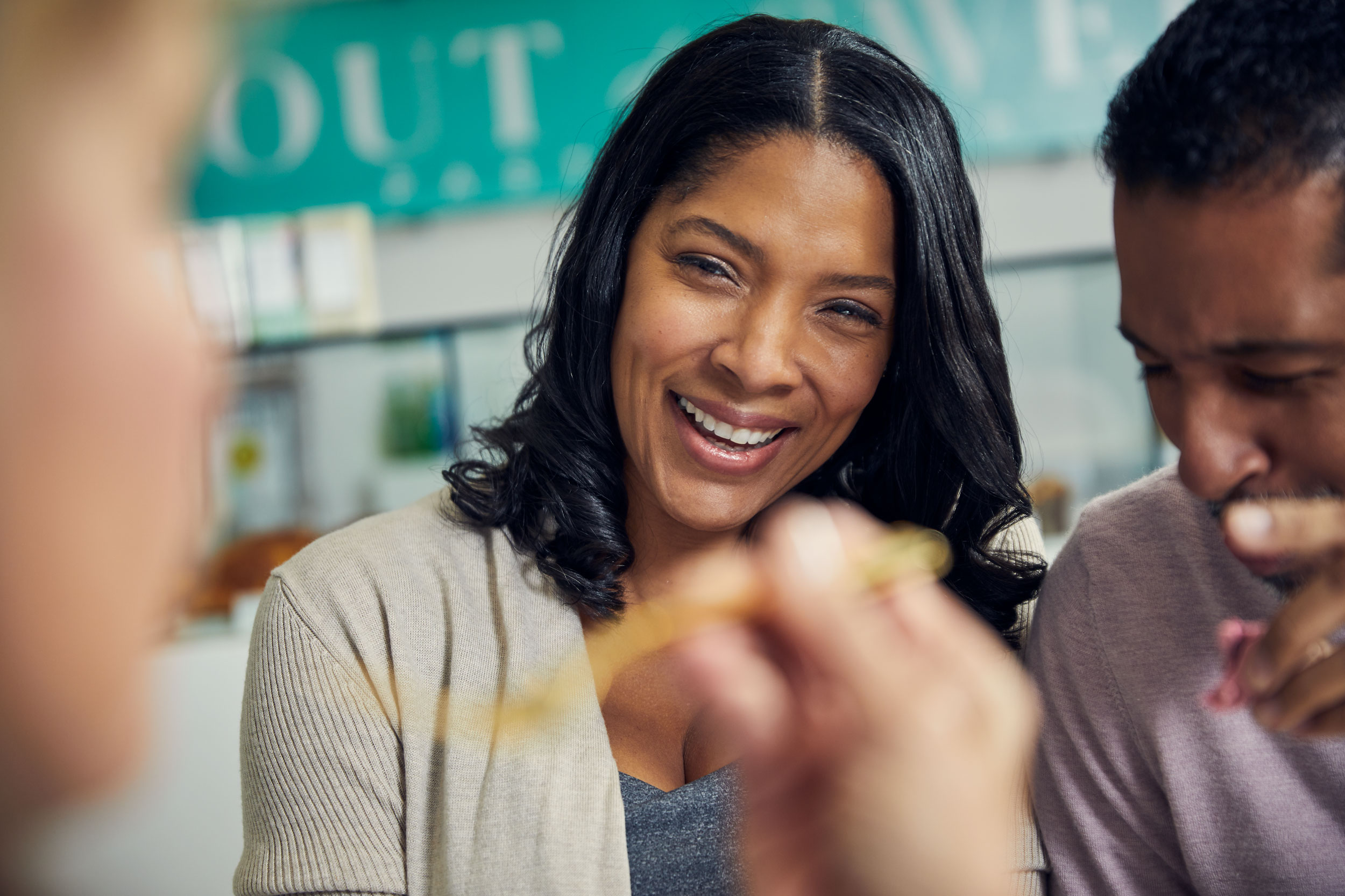 couple laughing at cafe, washington dc commercial photography