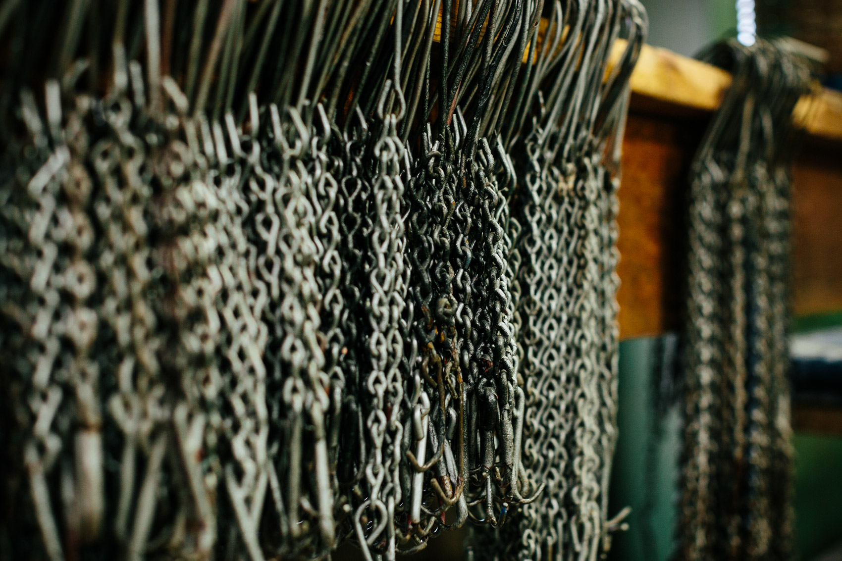 chains hanging in factory for washington dc industrial photography