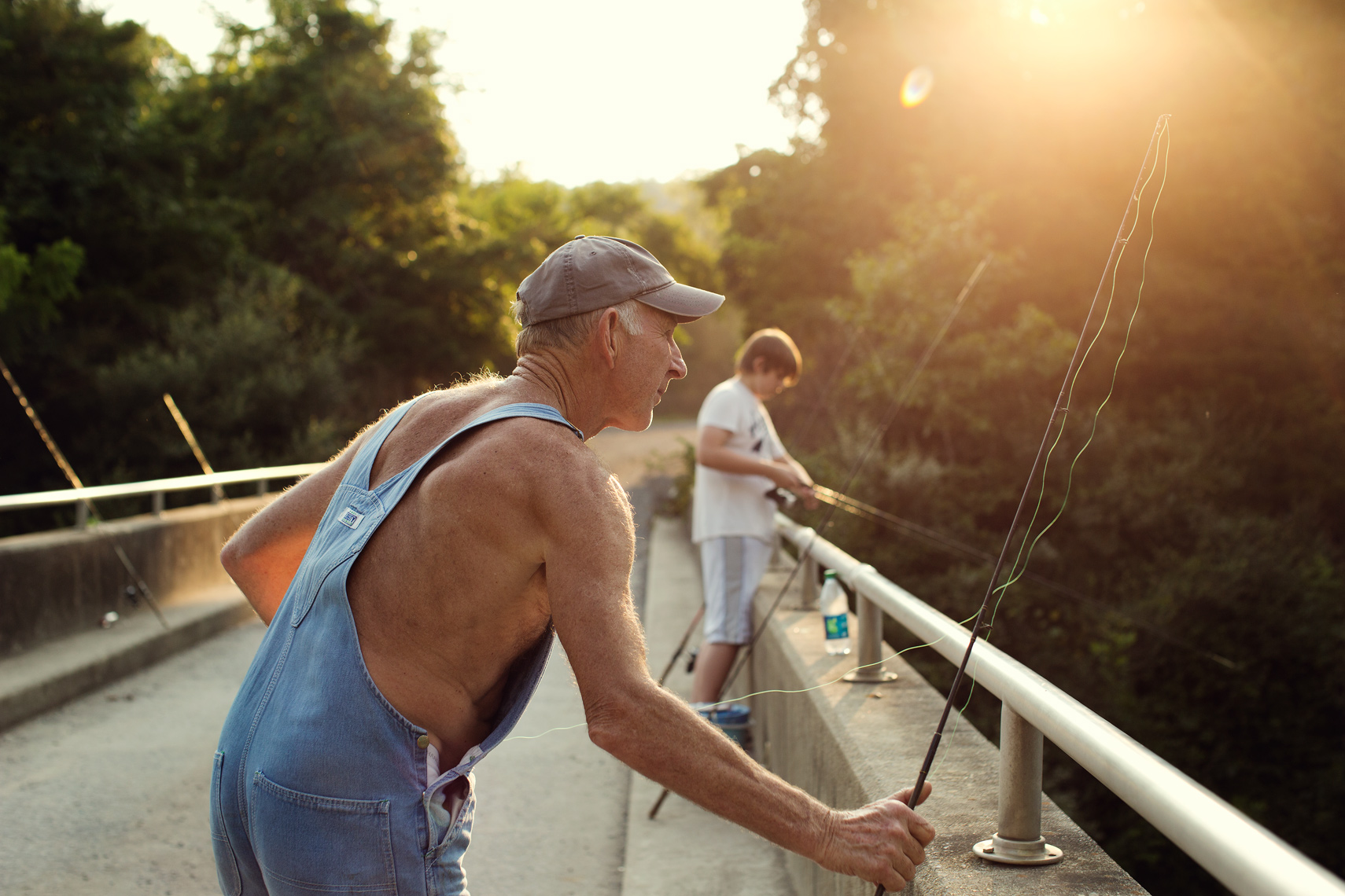 grandpa fishing with grandson for washington dc commercial photography