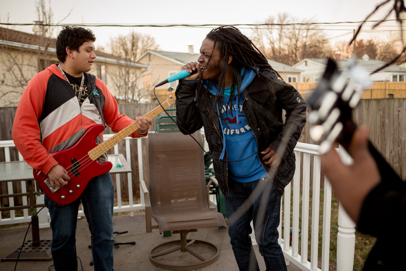high school band practices on porch for washington dc commercial photography