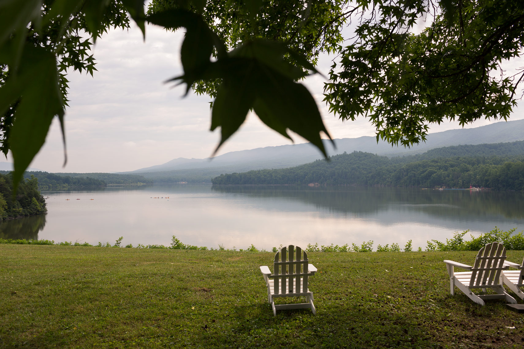 white adirondack chair on lake, washington dc photojournalism