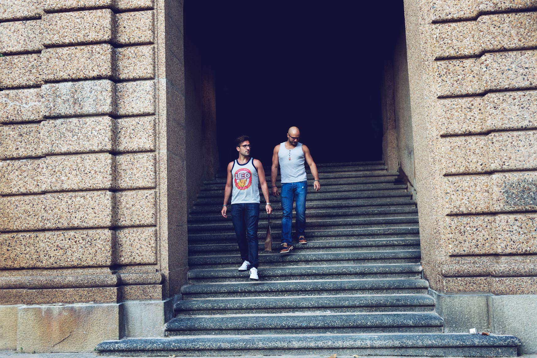 two men walking down steps for washington dc commercial photography
