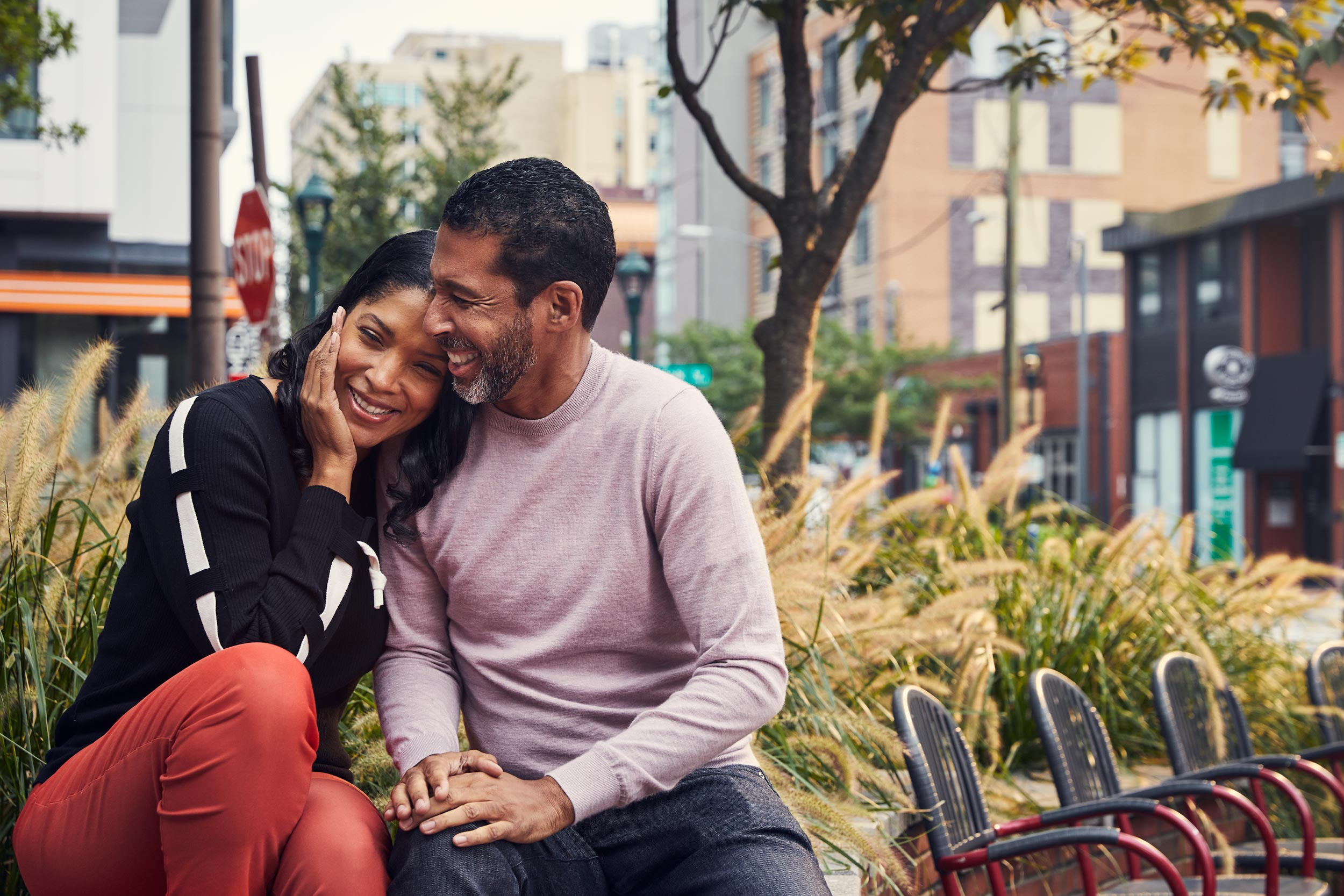mature couple embracing in park, washington dc commercial photography