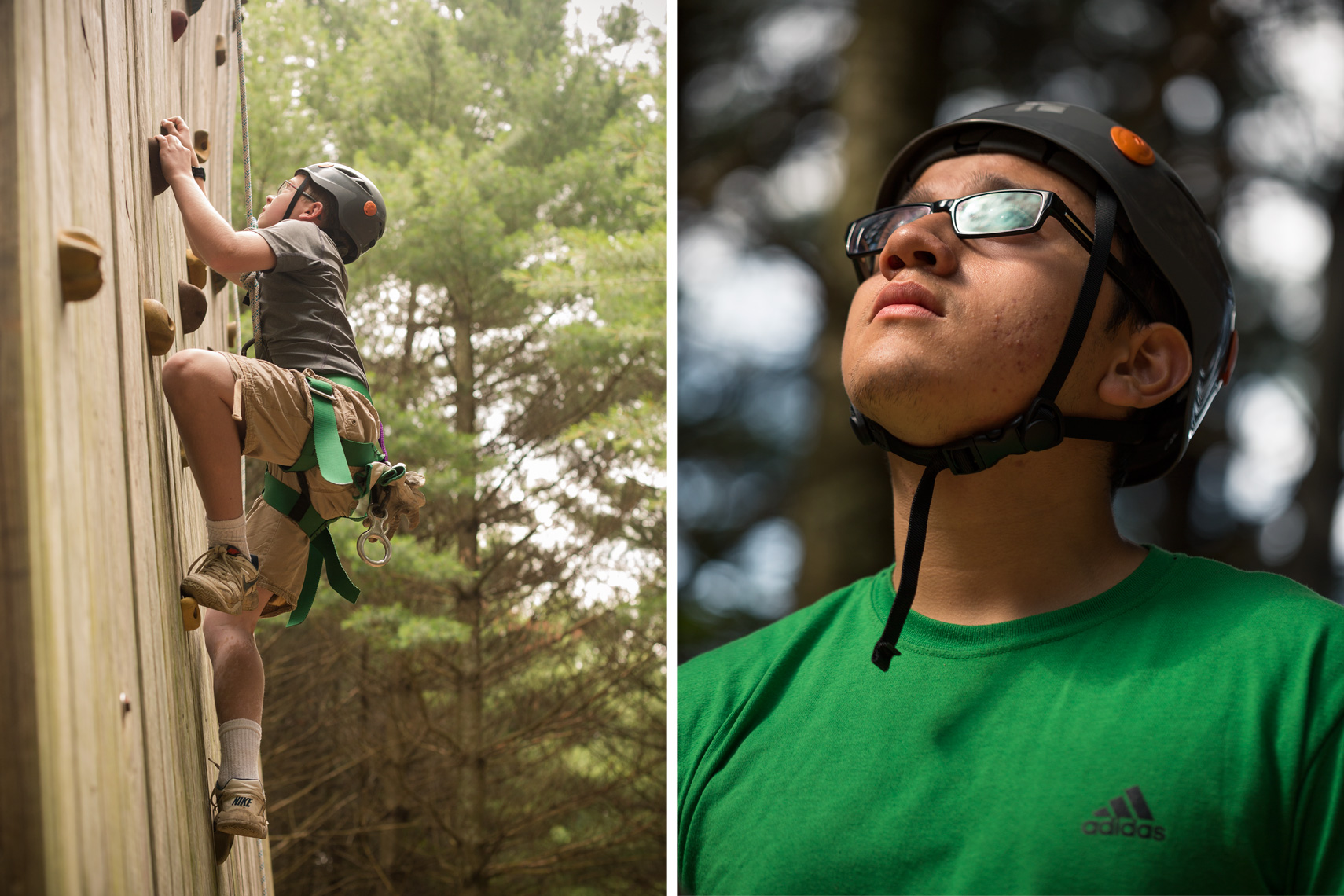 boy scouts rock climbing with helmets, washington dc photojournalism