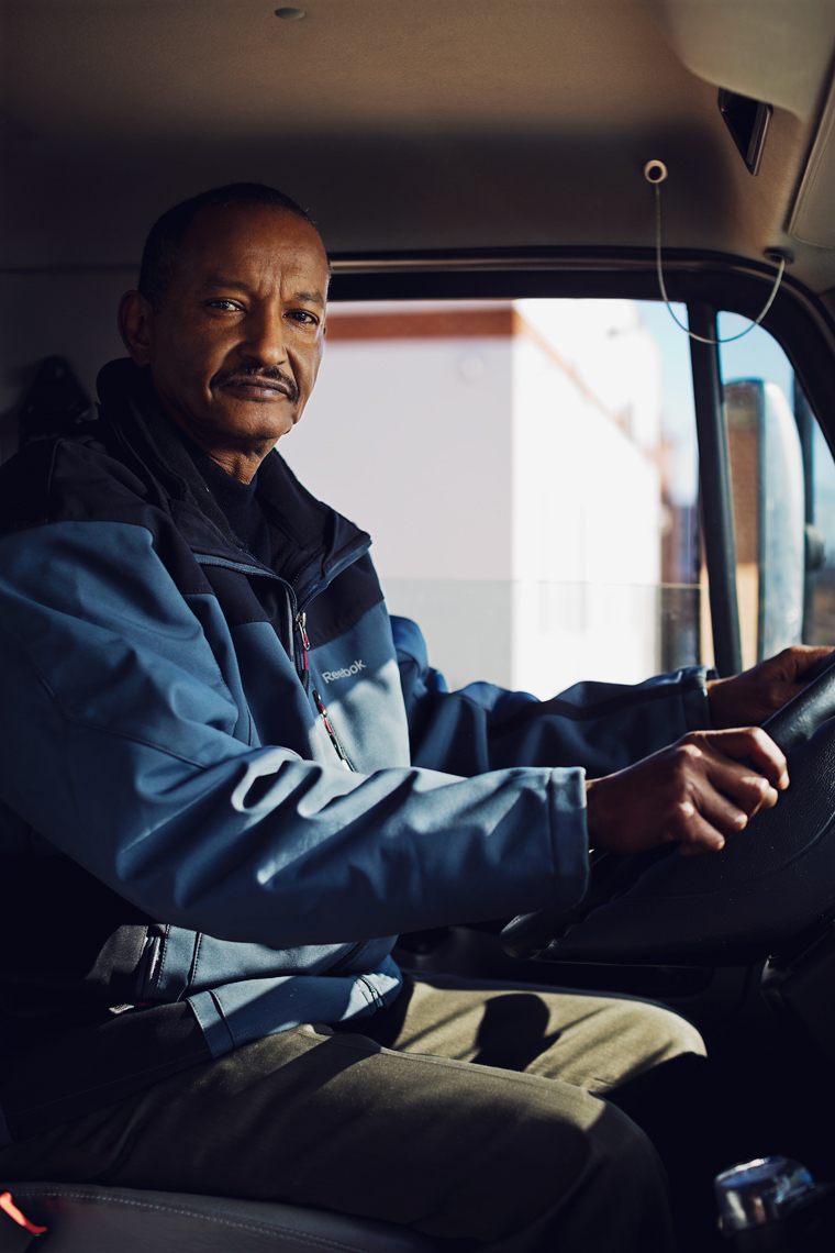 truck driver sitting in truck for washington dc editorial photography