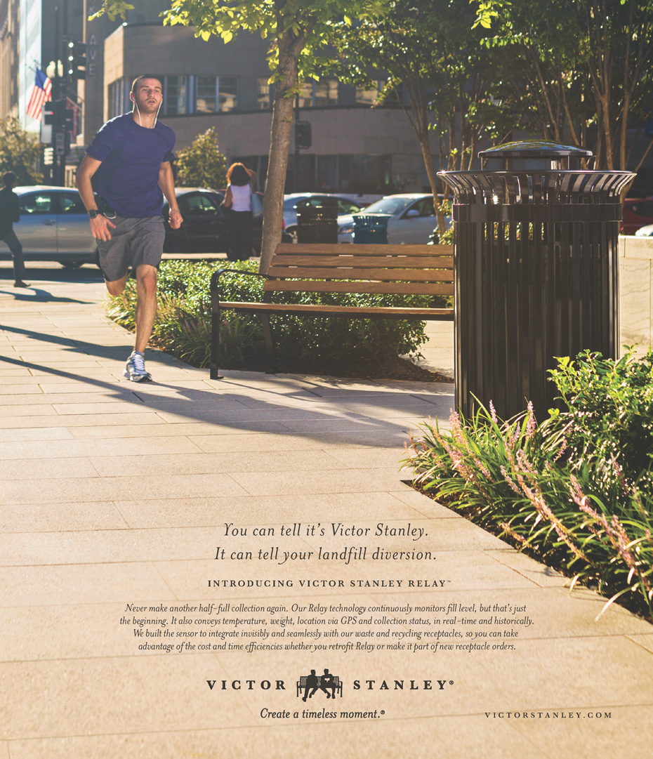 man running along sidewalk for victor stanley advertisement, washington dc commercial photography