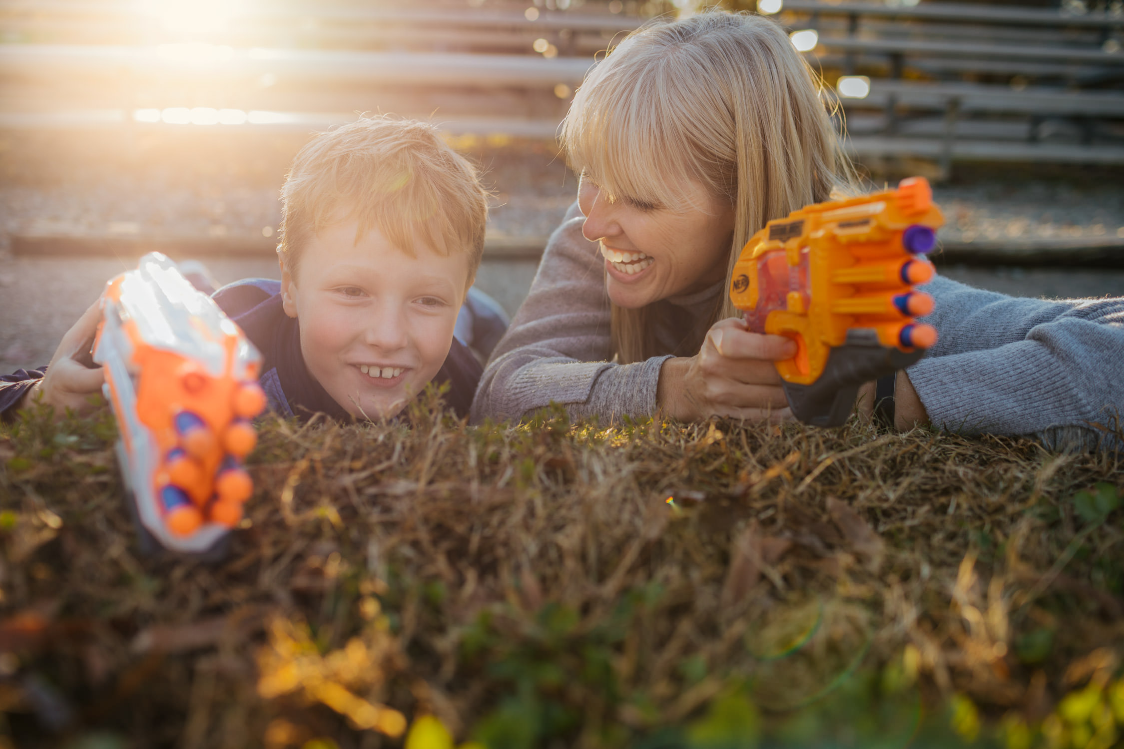 mother and son with nerf guns for washington dc commercial photography