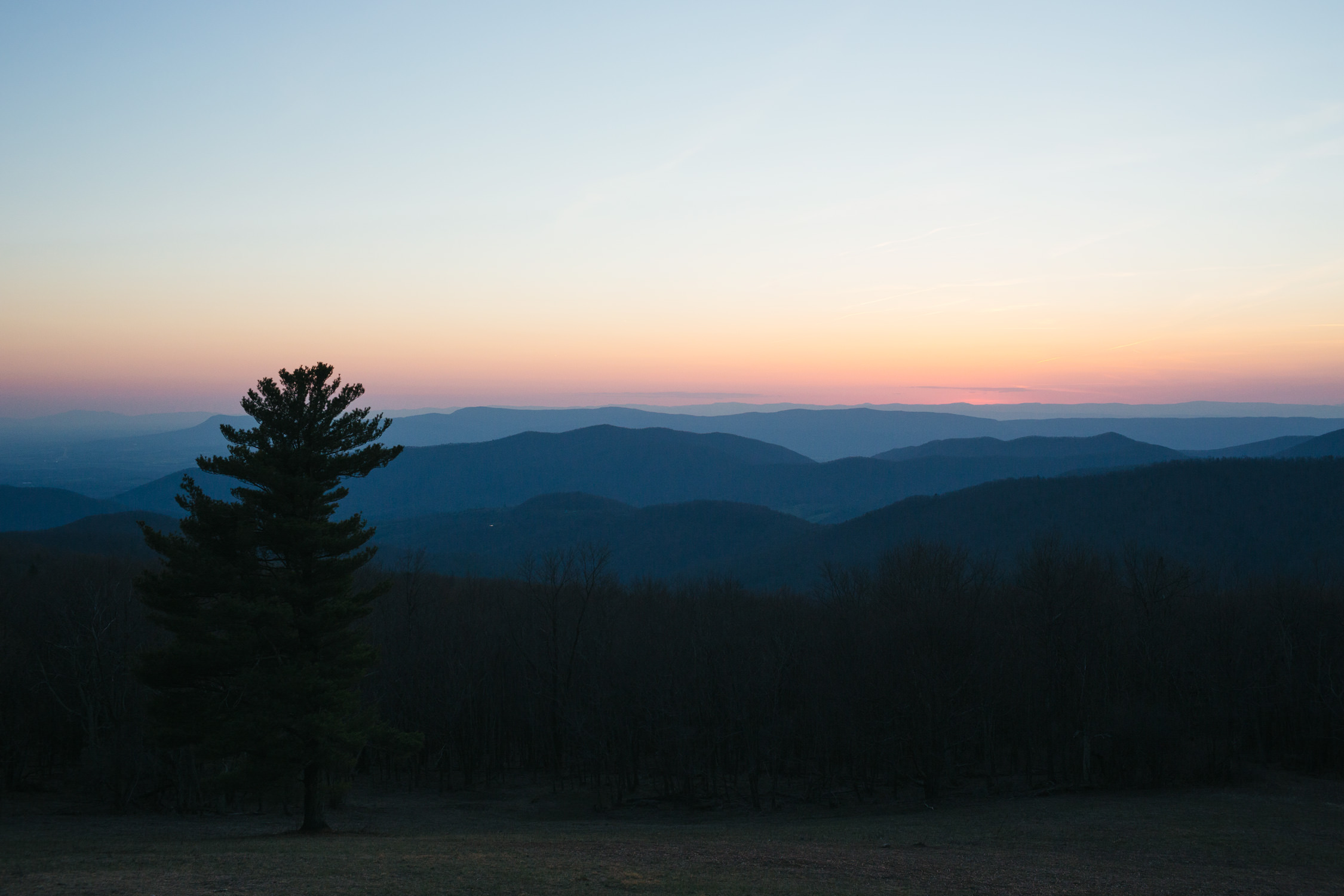 blue ridge mountain landscape at dusk for washington dc commercial photography