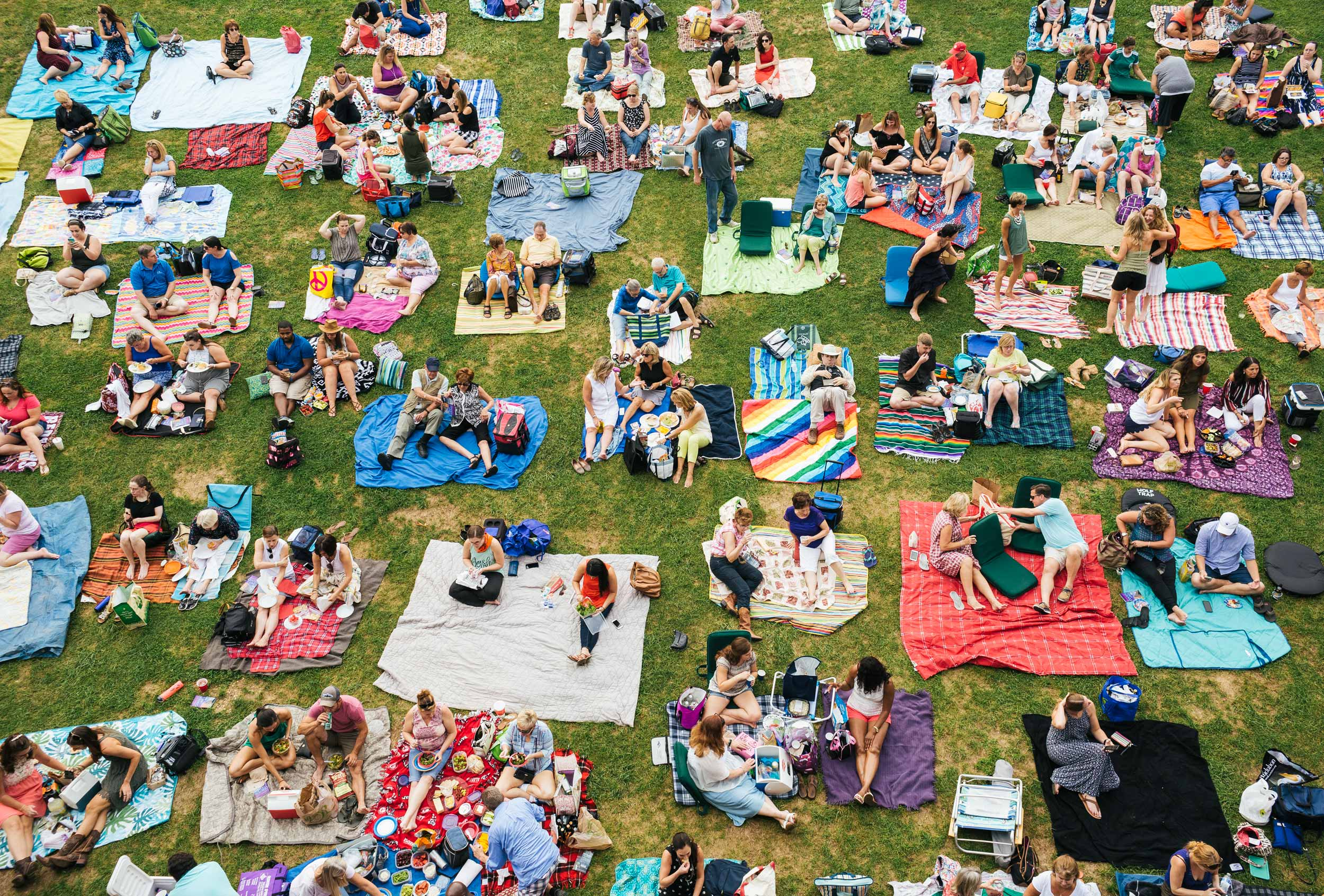 crowd with blankets on wolf trap lawn for washington dc commercial photography