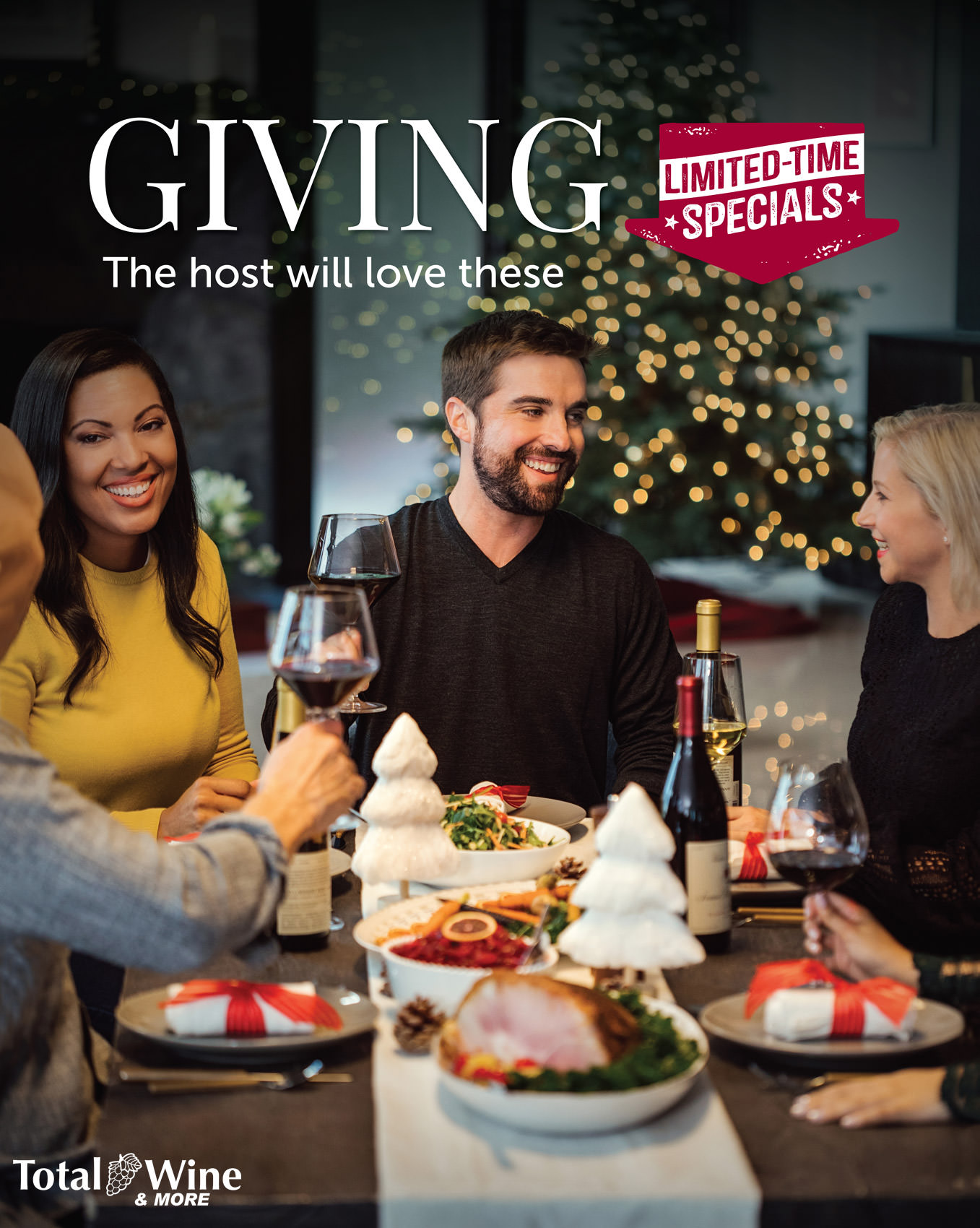 friends making toast at christmas dinner for total wine & more advertisement, washington dc commercial photography