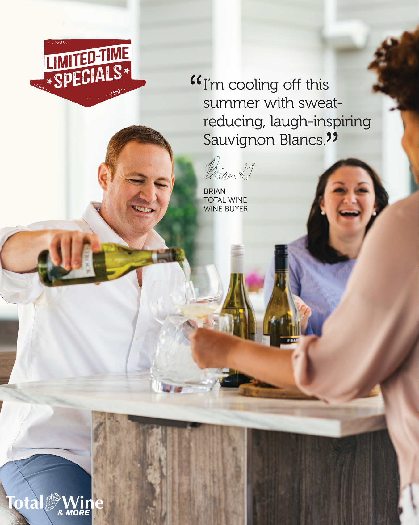 man pouring wine on patio with friends for total wine & more advertisement, washington dc commercial photography